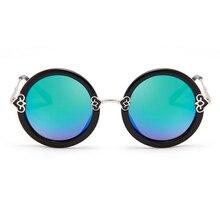 Laura de Hadas 2016 Corazones Del Melocotón Decoración de Metal gafas de Sol Redondas gafas de Sol de Las Mujeres Diseñador de la Marca Gafas De Sol Mujer