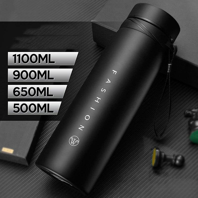 500/650/900/1100ml Thermos bouteille en acier inoxydable gobelet isolé bouteille d'eau Portable flacon à vide pour tasse à café tasse de voyage