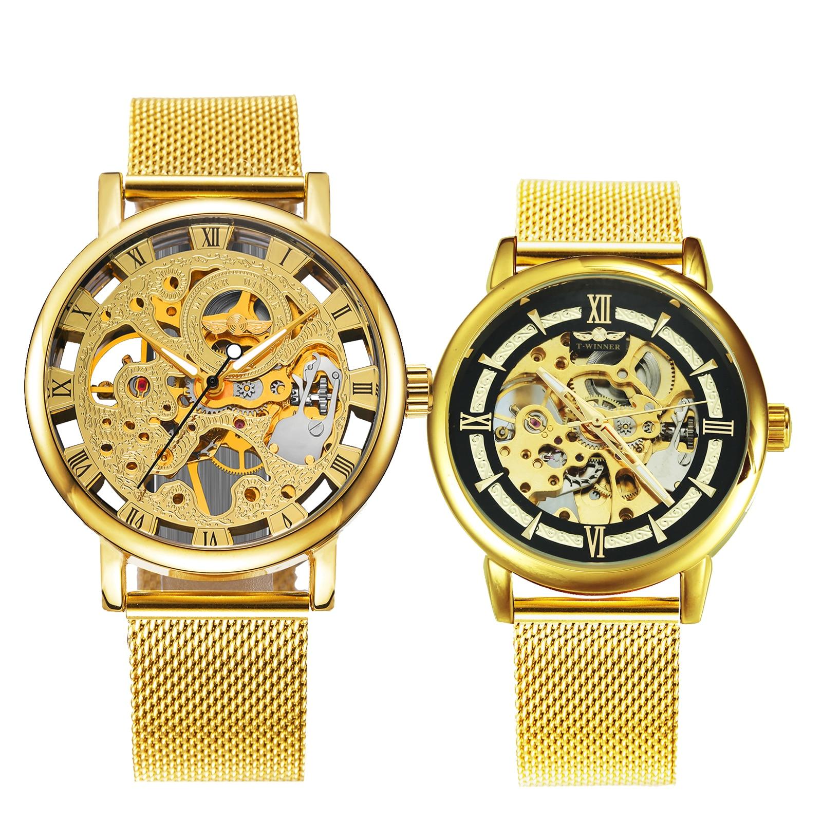 WINNER Official Couple Watch Set Fashion Mechanical Women Watch Men Ultra Thin Mesh Strap Top Brand Luxury Valentine's Day Gift
