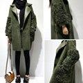 Зеленый цвет Роскошные Оригинальные Подлинная PU Кожаные куртки, знаменитости марка замши Пальто Осень Зима Теплые Шубы Y478