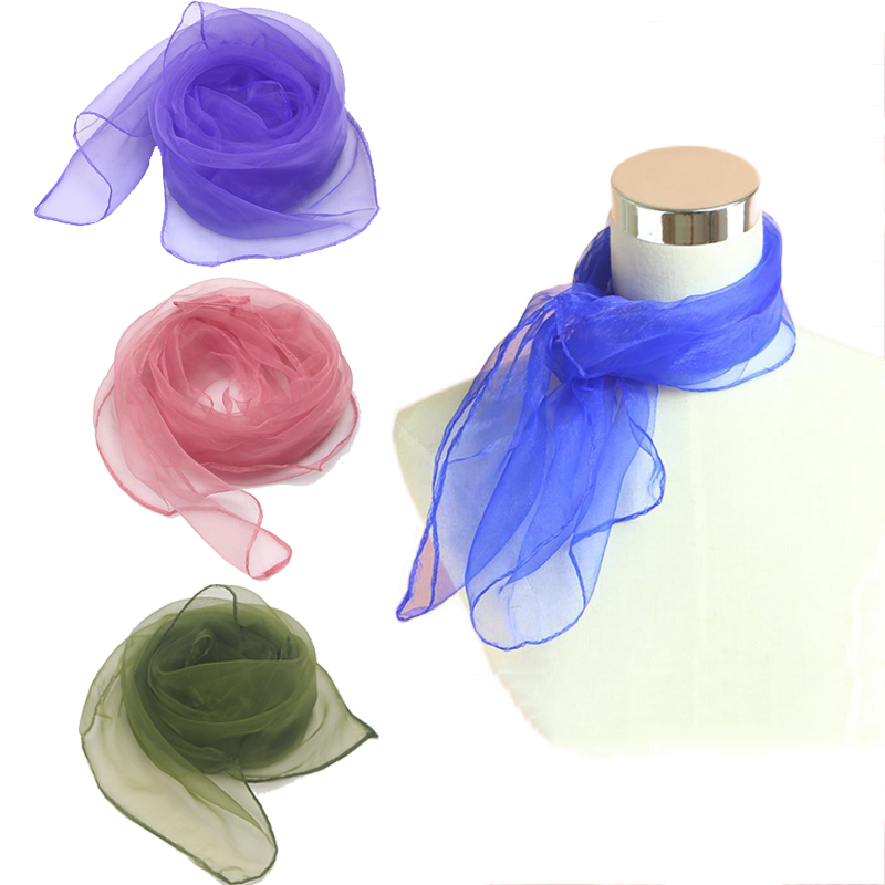 Hot Sale Thin Silk Scarves For Women Solid Chiffon Georgette Headscarf Spring Summer Small Square Scarf Ladies Kerchief