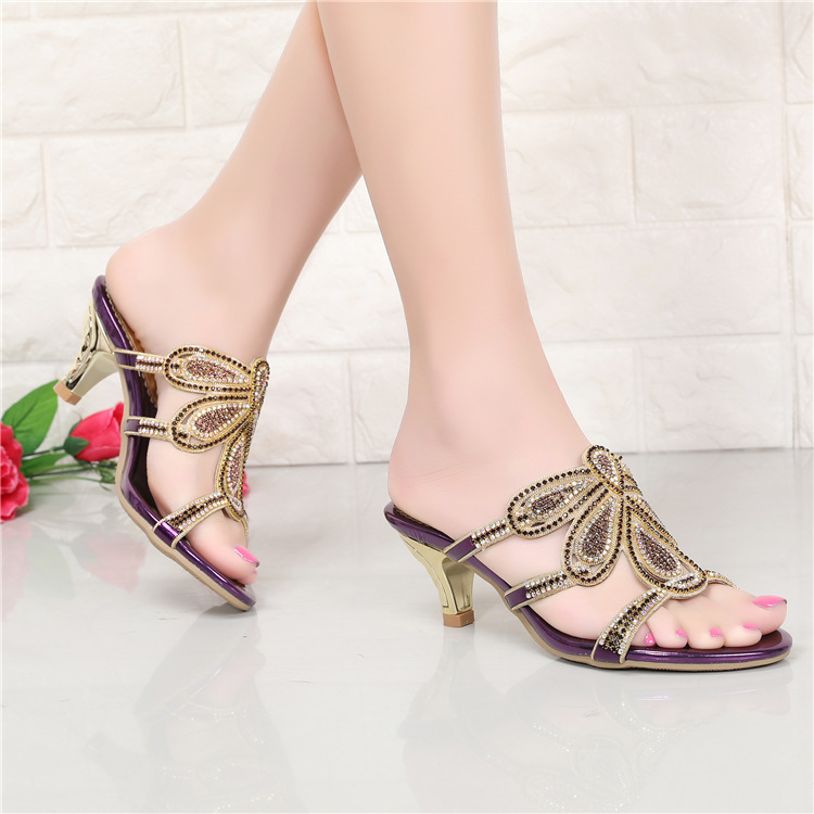 New Luxury Diamond Stiletto High Heels Slippers Online Shopping Peep Toe Womens Shoes Sale High Quality Gold Purple Black Red7