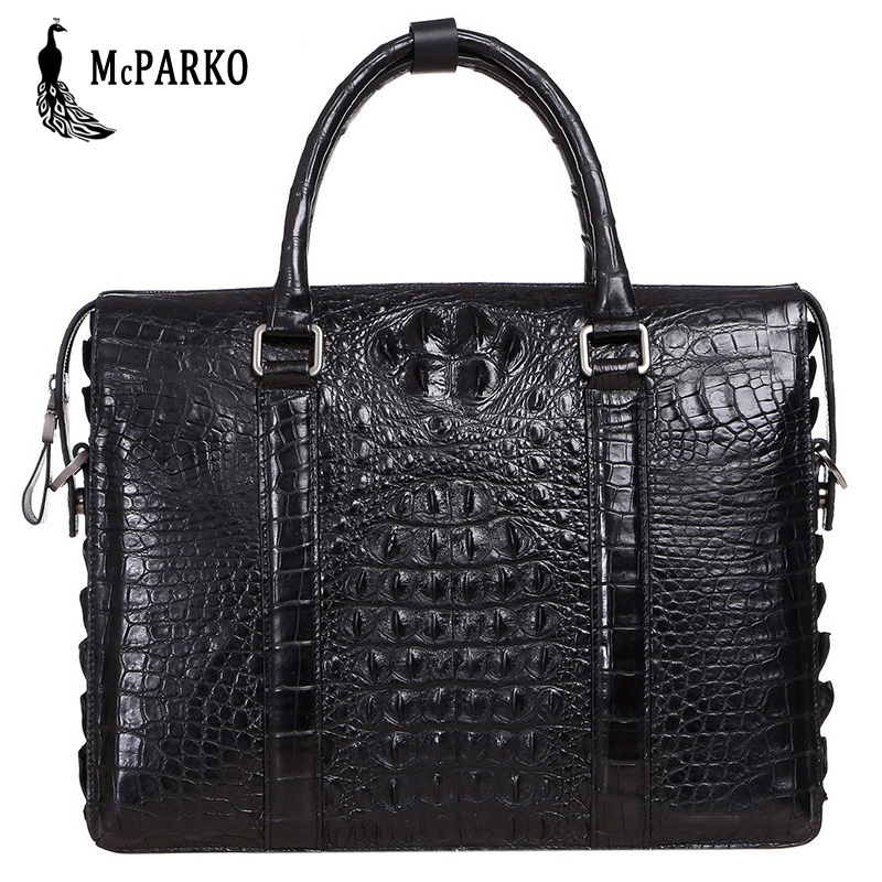 Business Men Bag Briefcase Genuine Leather Crocodile Skin Luxury Laptop Briefcase Alligator Bags Black HUSBAND GIFT