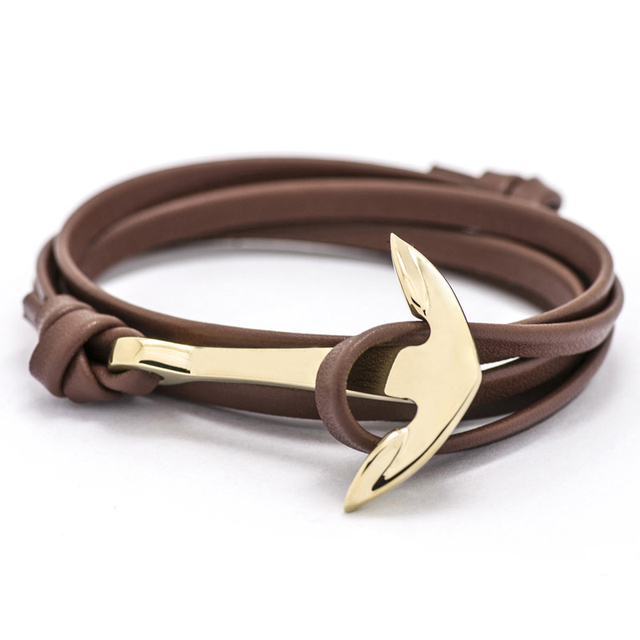 Fashion Jewelry Multilayer Gold Alloy Anchor Bracelet Men Leather Bracelet for Women&Men friendship bracelets