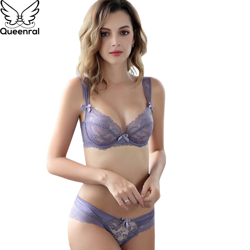 6c203b2d82a Queenral Transparent Lingerie Set For Women Underwear Bra Set Sexy Lace Bra  Ultra Thin Large Size ABCD Cup Bra And Panties Set-in Bra   Brief Sets from  ...