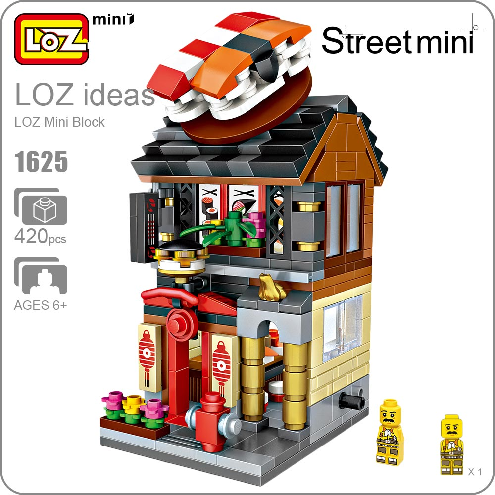 LOZ Mini Blocks Building Blocks Toy Architecture Sushi Shop Street Mini Model Funny Bricks Kids Assembly Toys for Children 1625 loz lincoln memorial mini block world famous architecture series building blocks classic toys model gift museum model mr froger
