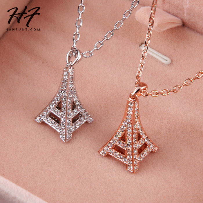 Top Quality Fashion Eiffel Tower Rose Gold Color Necklace Pendant Jewelry Made with Austria Crystal Wholesale N085 N086