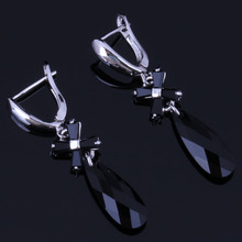 Sparkling Long Water Drop Black Cubic Zirconia 925 Sterling Silver Dangle Earrings For Women V1011