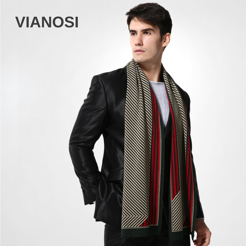 2016 Luxury Design Striped Scarf Men Wool Winter Warm ...