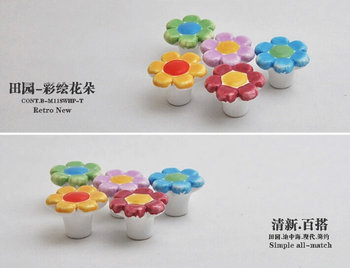 5PCS Different Flowers Imagines Lovely Childlike Ceramic 38X27MM Cupboard Closet Cabinet Drawer Furniture Knob For Nursery