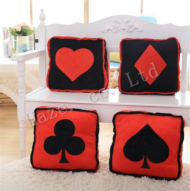 Linda Ameixa Spades Pôquer DIY Personalidade Criativa Início Mobiliário Brinquedo de Pelúcia Travesseiro Quadrado