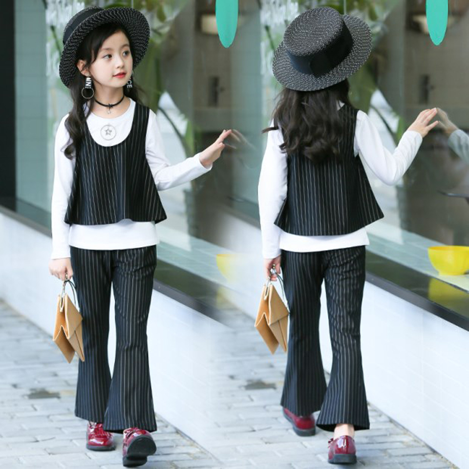 2325017404d 4 5 6 7 8 9 10 11 12 Years Autumn Girls Clothes Sets Back to School Uniform Costume  2018 Fashion Blouses + Pants Clothing Sets