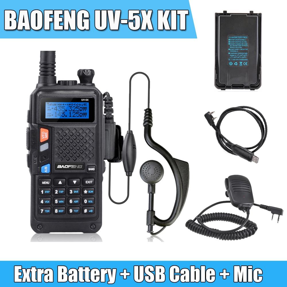 imágenes para BAOFENG UV-5X Kit de Actualización de la Versión de Baofeng UV-5R UHF + VHF Dual banda de Radio de Dos Vías Walkie Talkie + Altavoz Mic + Uno Extra batería