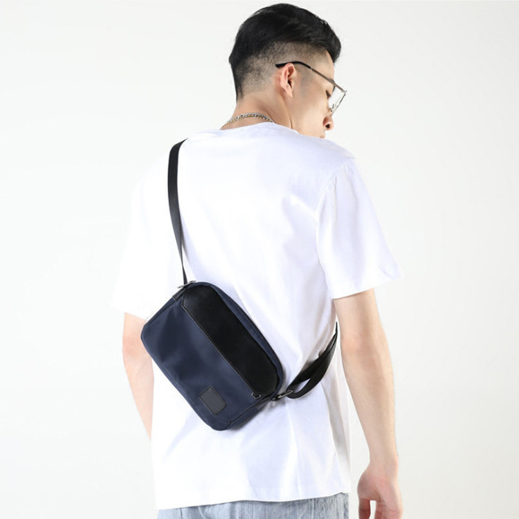 Men Bag Small Bag Crossbody Flap Thin Messenger Mobile Pouch Single Fashion Nylon Interior Zipper Pocket Black Dark Blue Summer in Crossbody Bags from Luggage Bags