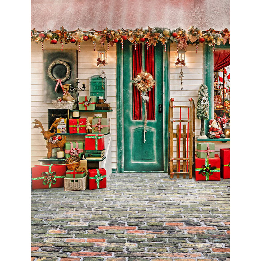 Christmas Gift Background: Vinyl Photography Background Winter Christmas Gift House