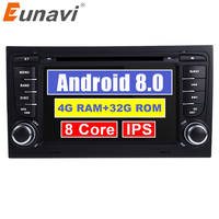 Eunavi Car Multimedia Player Car Radio 2 Din GPS Android 8.0 Stereo System For Audi/A4/S4 2002 2008 4GB RAM DVR OBD2 FM