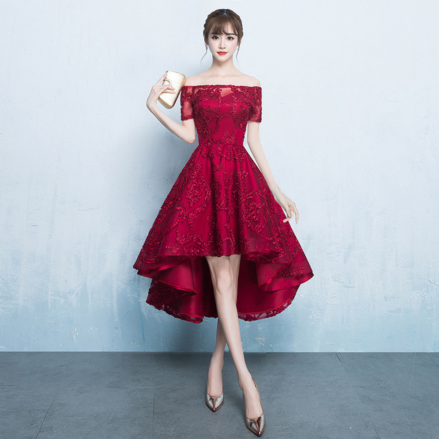 Wine Red Short Sleeve Boat Neck Wedding Party Dress Bride Guest High Low Bridesmaid  Dresses S115135 e82f376057ad