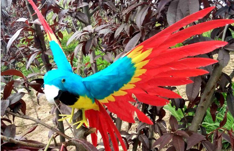 Simulation coloré perroquet oiseau grand 30x45 cm mousse et plumes propagation ailes perroquet artisanat maison jardin décoration cadeau p0249