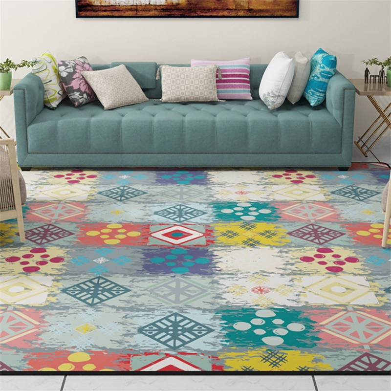 Colorful patched geometric parlor living room decorative - Colorful rugs for living room ...