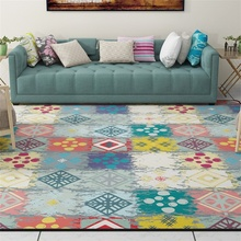 Colorful Patched Geometric Parlor Living Room Decorative Carpet Floor Foot Door Yoga Mat Pad Bathroom Kitchen Area Rug Rectangle
