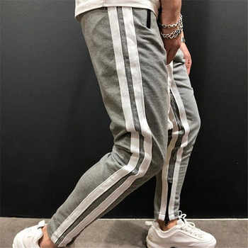 GYMOHYEAH Men Track Pants NEW Fashion Hip Hop Fitness Streetwear Trousers Striped Drawstring Joggers Sweatpants Pantalon Homme