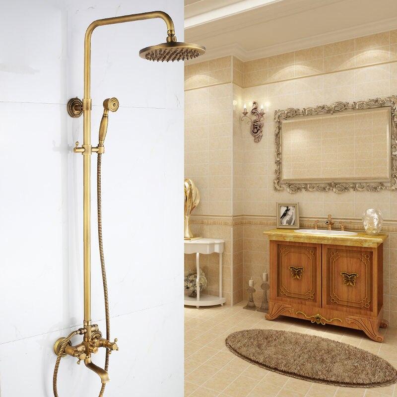 Cold And Hot Mixer Faucet Shower Tap Set Bathroom Antique Sprinkler Suit All Copper Vintage Antique Bronze Shower Faucet Shower Faucets Home Improvement