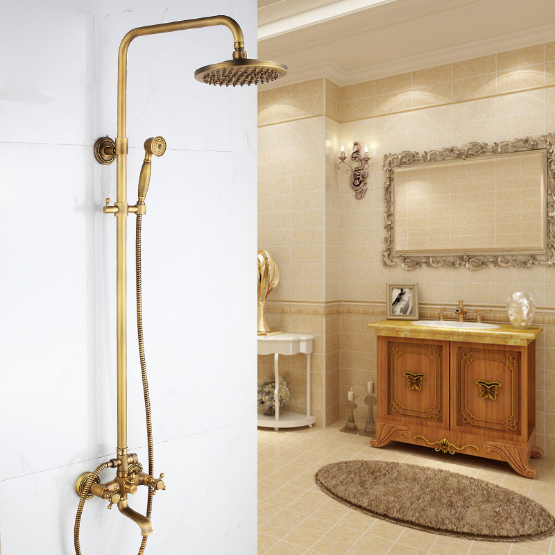 Shower Equipment Cold And Hot Mixer Faucet Shower Tap Set Bathroom Antique Sprinkler Suit All Copper Vintage Antique Bronze Shower Faucet