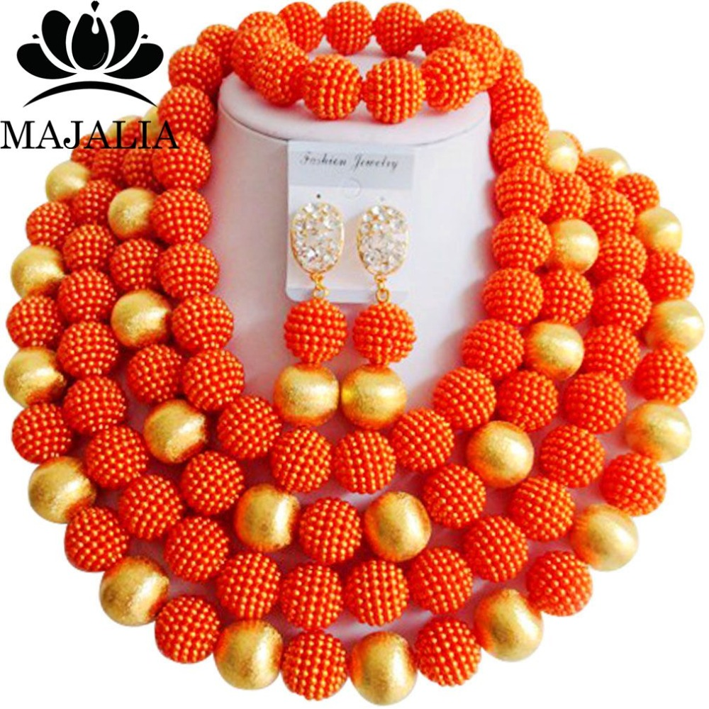 купить Fashion nigerian wedding orange plastic nigerian wedding african beads jewelry set crystal Free shipping Majalia-281 по цене 2866.77 рублей
