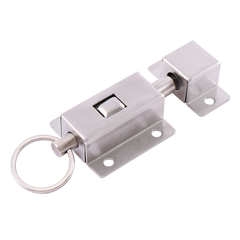 3 Inch Long Stainless Steel Spring Door Latch With Button Slide Lock Barrel Bolt High Quality Practical