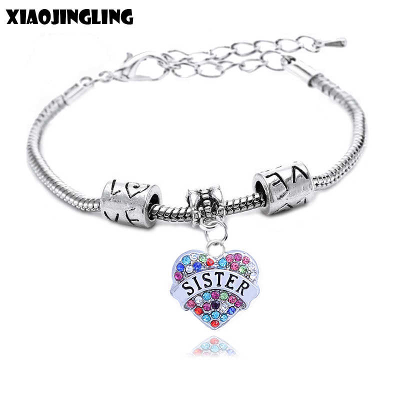XIAOJINGLING 5 Colors Crystal Pendant Bracelets & Bangles Charm Fashion Bracelet Women Jewelry Accessories Sister Birthday Gifts