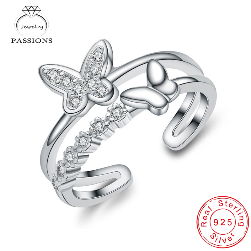 Wholesale Fashion 925 Sterling Silver Resizable Zircon Rings Fine Double Layer Butterfly Rhinestone Rings Girl&Lady Jewelry Gift