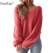 Forefair V Neck Knitted Sweater Women Yellow White Oversized Backless Long Sleeve Sexy Sweater Winter 2018 Knitwear