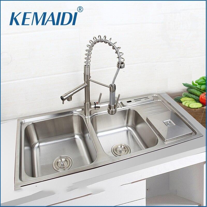 KEMAIDI évier de cuisine en acier inoxydable Set avec robinet Double éviers évier de cuisine sous montage cuisine lavage vanité