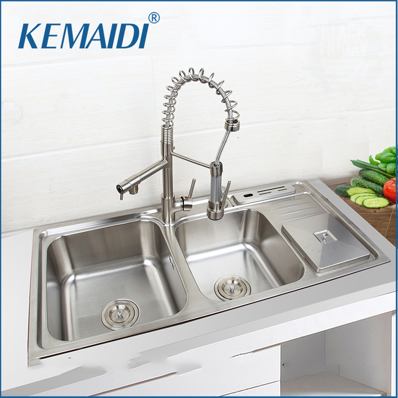 цены KEMAIDI Stainless Steel Kitchen Sink Vessel Set With Faucet Double Sinks Kitchen Sink Under Mount Kitchen Washing Vanity