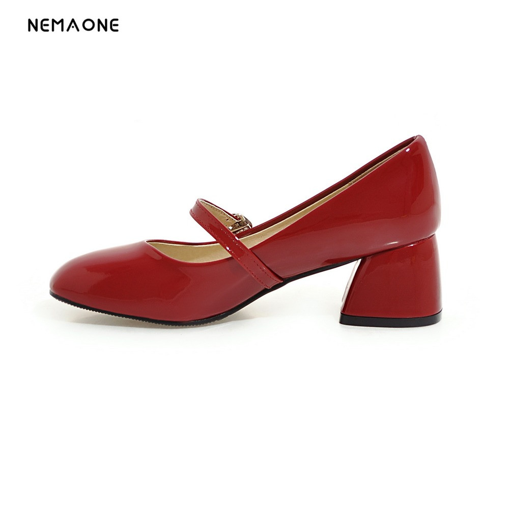 цена на NEMAONE Women Shoes Ladies High Heels White Wedding Shoes Thick Heel Pumps Lady Shoes Black Pink red white Plus Size 34-43