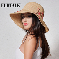 FURTALK imported raffia summer hat for women straw hat for beach sun hat travel bucket hat panama