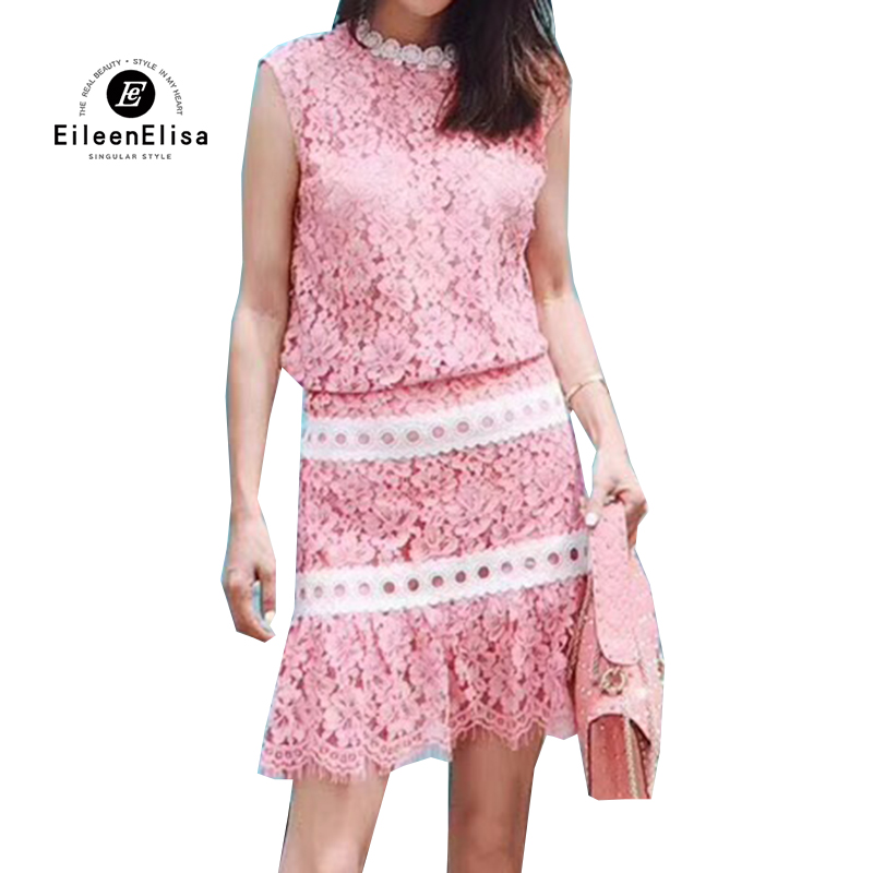 Woman Summer Skirt Sets Elegant 2018 Sleeveless Blouse And Mini Skirt Set Ladies Two Piece Casual Lace Suit Pink