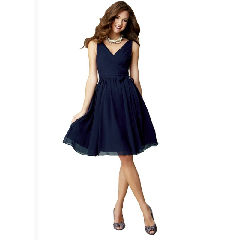 Compare Prices on Navy Blue Knee Length Bridesmaid Dress- Online ...
