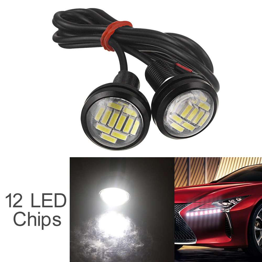 2pcs Waterproof 12V 15W 22mm 12 LED Eagle Eye Car Fog Lamp Bulb Auto DRL Daytime Reversing Backup Parking Signal Light