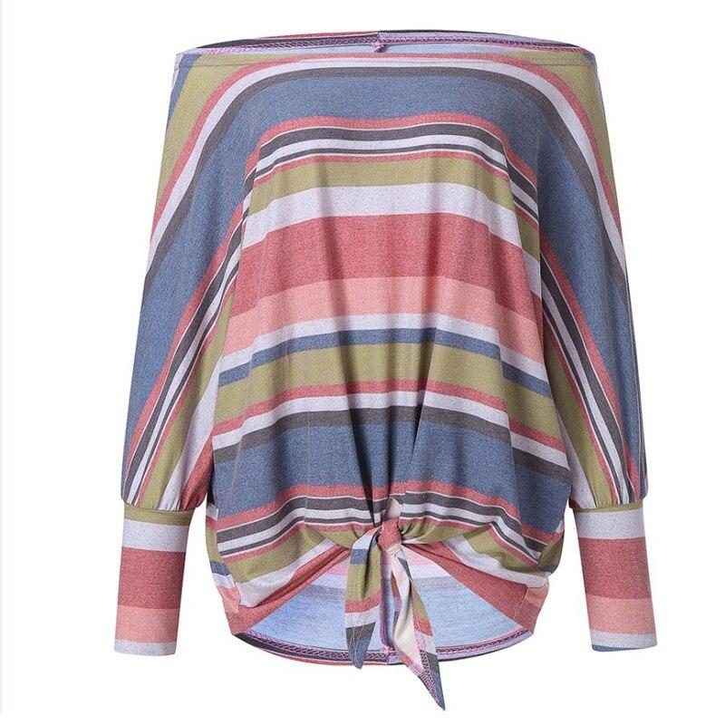 Women Autumn Tops Slash Neck Striped Long Sleeves Rainbow Pattern Print WOmen Clothes H9