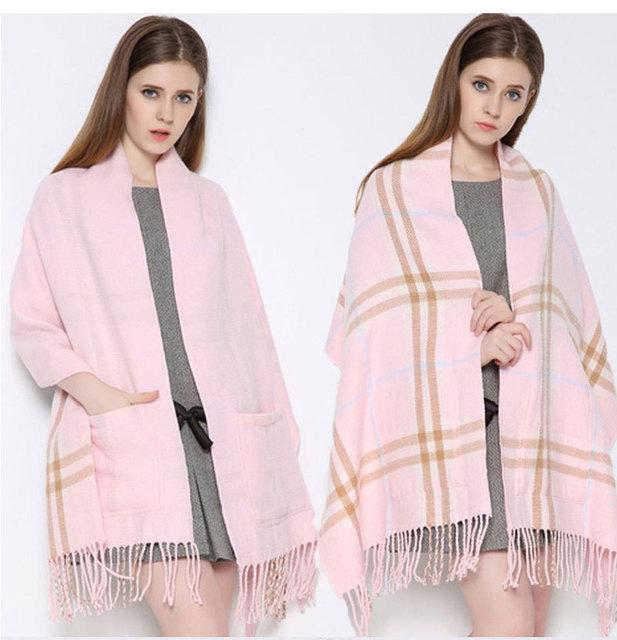 55x200 cm Hot Super chateado Bolso desigual estilo Britânico Borla cachecol Dupla face capa cachecol De Lã de inverno
