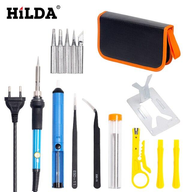 HILDA 220V/110V 60W Elektrische Lötkolben Einstellbare Temperatur Löten Gun Schweißen Rework Tool Kit Für reparatur