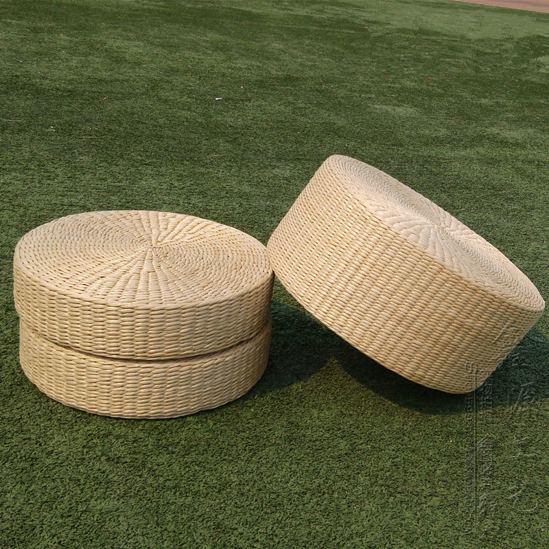 Japanese Style Straw Futon Cushion Large Handmade Round ...