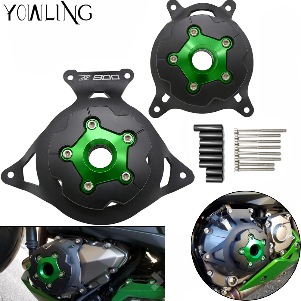 купить For Kawasaki Z800 Z 800 2013 2014 2015 2016 CNC new Green Motorcycle Engine Stator Cover/Engine Protective Cover with Z800 LOGO недорого