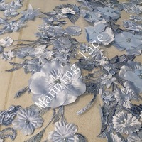 High Quality Stereoscopic Embroidered Veil Fabric With Stone Or Pearl Lace Fabric For Sweet And Elegant
