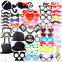 58pcs Set Colorful Funny Photo Booth Prop Lips Moustache Wedding Decoration Favors Birthday Chirstmas Party Gifts