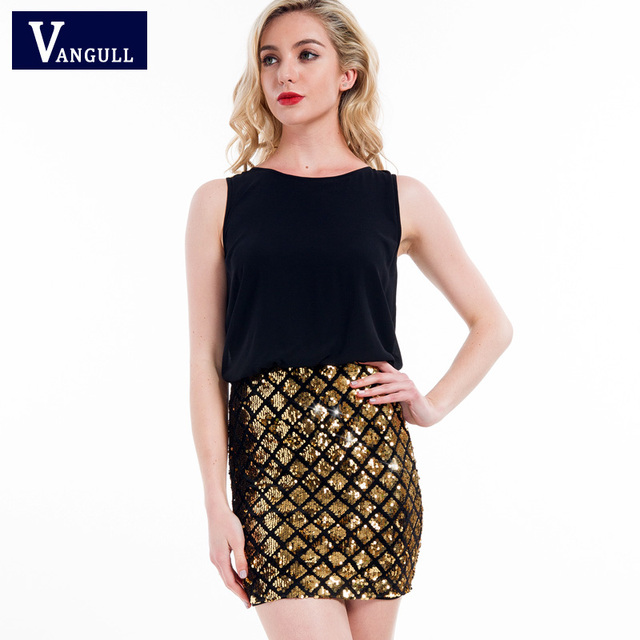 Vangull Party Dresses Women Multicolor Sleeveless Zipper Back Contrast  Sequin Sheath Dress 2018 New Two Tone Sparkle Combo Dress