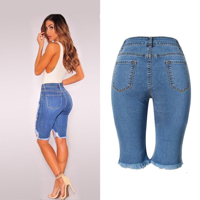 61605c33f Szymgs elastiripped hasta la rodilla Jean Pantalones ripped Pantalones  cortos Jeans para las mujeres agujero Pantalones jeans Mujer apenado  Pantalones ...