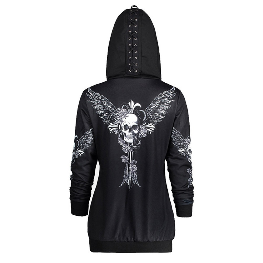 Rosetic Gothic Skull Hooded Hoodies Women Halloween Coat Fashion Zipper Fitness Streetwear Cool Girls Black Hoodie Sweatshirt