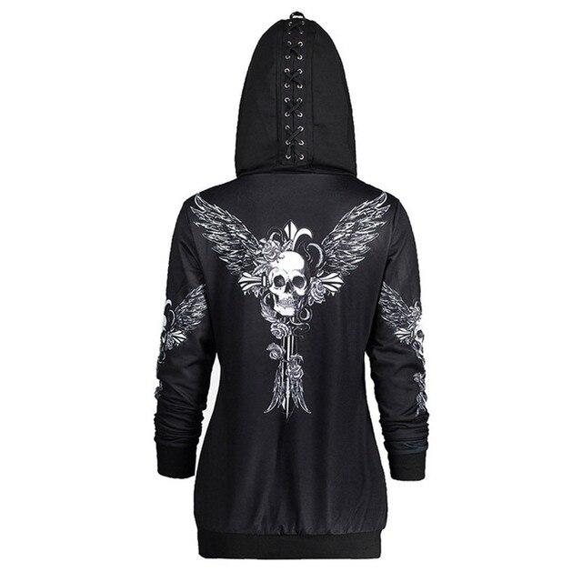 072272747b76 Rosetic Gothic Skull Hooded Hoodies Women Halloween Coat Fashion Zipper  Fitness Streetwear Cool Girls Black Hoodie Sweatshirt